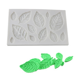 silicone mold cake leaf NZ - Cake Decorating Tools DIY Tree leaf Press Molding Foil Mold Silicone Mold Cake Decor Fondant Cake 3D Leaves Silicone Mould