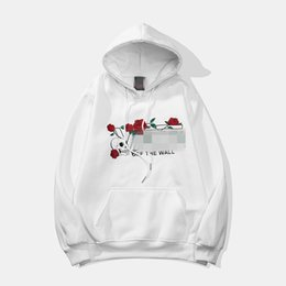 White Rose Pullover Australia - New Designer Men Hoodies Autumn Pullover Rose Letter Print Long Sleeve Blouse High Street Style Good Quality White Black M-2XL