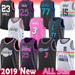 Men 25 Derrick Rose 3 Dwyane Wade Jersey Timberwolves Heat Dallas 77 Luka  Doncic Mavericks Nikola 15 Jokic Nuggets All Star Lakers 23 LeBron 82d170ba4