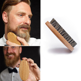 China Natural Boar Bristle Beard Brush For Men Bamboo Face Massage Comb Beards and Mustache Drop Shipping cheap beard comb wholesale suppliers