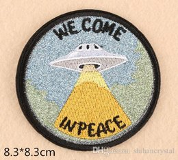 EmbroidEriEd patchEs online shopping - We come in Peace embroideried Patches clothing patches sewing accessories patchwork