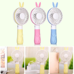 Discount cartoon usb mini fan - New Design Handheld Fan Home Travel Portable Mini Cute Bear Cartoon USB Charge Fan