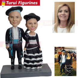Figure Cake NZ - polymer clay bobblehead 2 People Full Custom Bobblehead cake toppers custom made action figure of yourself wedding cake topper