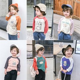 a83f7efb New spring and autumn Children's wear long sleeve pure cotton Girls T-shirt  design fashion stitching color Sweet princess base shirt 7colou