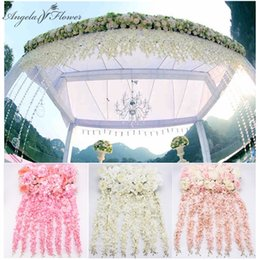 white pink mix rose flower Australia - DIY flower row with wisteria wedding arch decor flower rose peony hydrangea mix arch artificial row wisteria vine