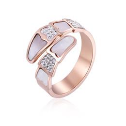 $enCountryForm.capitalKeyWord Australia - 2019 Fashion Engagement Titanium Steel Snake Bone Band Rings for Women Girls Rose Gold Color Trapezoid Sea Shell Zircon Rings