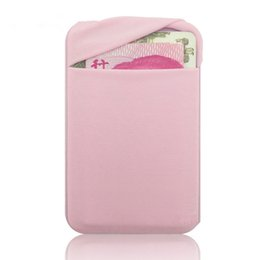 China Elastic Cloth Wallet Credit ID Card Cash Holder 3M Gadget Pocket Pouch Stick-On Phone Pocket Stickers Mobile Phone suppliers