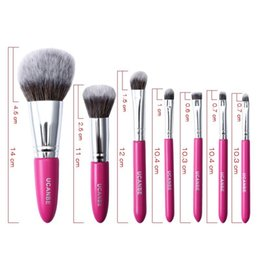 $enCountryForm.capitalKeyWord Australia - Private Label Red Fiber Hair 7pcs Cosmetic Brushes Set Cosmetic Eyeshadow Brush +Lips Brush + Eyebrow Tools Kits Professional Making Up Sets