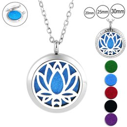 magnetic pendant necklaces NZ - ashion Jewelry Pendants 20 25mm 30mm magnetic essential oil diffuser necklace 316l stainless steel lotus shape aromatherapy pendants jewe...