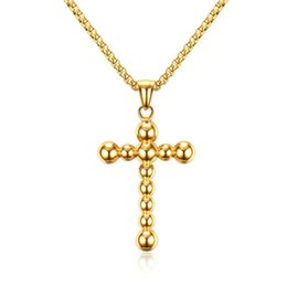 $enCountryForm.capitalKeyWord NZ - Gold Color Simple Fashion Men's Beads Cross Pendant Necklace Stainless Steel Link Chain Necklace Jewelry Gift for Men Boys J677