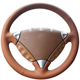 porsche cover UK - Top Leather Steering Wheel DIY Hand-stitch on Wrap Cover For Porsche Cayenne 2007-10