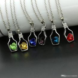 Bottle Pendants Wholesale Australia - 8 Colors Fashion Crystal Women's Neck Jewelry Chain Necklace Rhinestone Gift Love Heart Bottle Pendant Necklaces