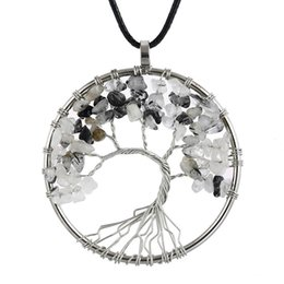 wholesale flower life pendants Canada - Tree of Life Pendant Necklace Colorful Life Tree Root Chain Necklaces Round Women Female Natural Stone Full Crystal Gemstone Beads Jewelry