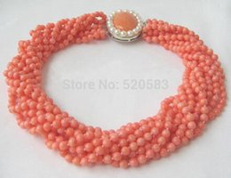 "pink coral beaded necklace NZ - Beautiful 17"" 10row 6mm natural pink coral necklace A0510 Chains Bridal Jewelry momen"