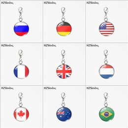 $enCountryForm.capitalKeyWord UK - Custom New Trendy Country Flag USA Russia Round Glass Pendants Stainless Steel Round Charms Detachable Necklace or Keychain