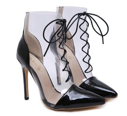 $enCountryForm.capitalKeyWord Australia - Chic black clear transparent patchwork lace up pointed toe high heel ankle bootie designer shoes size 35 to 40