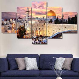 $enCountryForm.capitalKeyWord Australia - Jerusalén Sunset Paisaje Islam Edificio,5 Pieces Home Decor HD Printed Modern Art Painting on Canvas (Unframed Framed)