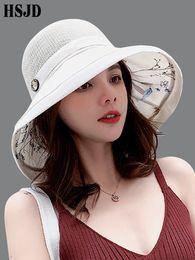 $enCountryForm.capitalKeyWord Australia - 2019 Summer Big Wide Brim Flower Sun Hat for Women Mesh UV Protection Beach Hat Female Net Foldable Sun Hats Lady's Bucket