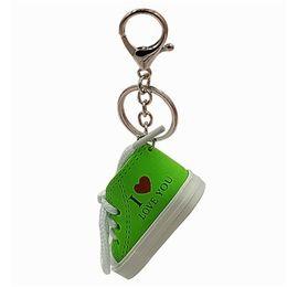 $enCountryForm.capitalKeyWord Australia - Mini Canvas Shoe Keychain 3D Sneaker Cute Tennis Shoes for Bag Pendant Key Chain Shoes Key Ring Funny Gifts