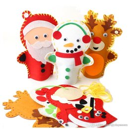 Sewing Cloth Wholesale Australia - Wholesale-1psc 20*28cm Easy Crafts Non-Woven Cloth Christmas snowman Deer Hand Puppet Child Creative Activity DIY Sewing Toy EVA sticker