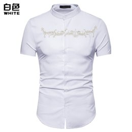 Shirts Stand Up Collars Australia - PADEGAO Brand 2019 high quality Men's short sleeve shirts with stand-up collars in summer Embroidered shirt of European size