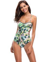 00d52666d5 Women Sexy One Piece Swimsuit Plant Leaves Print Bikini Backless High Waist Bathing  Suit Cut Out Sling Bikini Top Push Up Swimwear Beachwear