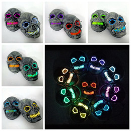 led for costume Australia - Skull Glowing Mask Costume LED Party Mask for Horror Theme Cosplay EL Wire Halloween Masks Halloween Party Supplies RRA2126