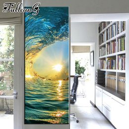 $enCountryForm.capitalKeyWord Australia - wholesale 5D diy diamond painting wave sunset scenery large 3D embroidery surge mosaic full square round drill home decor FC1776