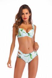 Strap Strip Australia - 2019 Brand New Sexy Lady Flower Split bikini Strip steel strap with chest pad Swimsuit women Beachwear Top Low Waist Swimsuit