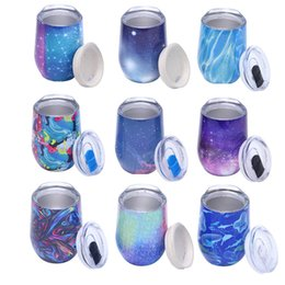 cute tumblers NZ - Novelty cute 12oz Egg Cup Wine glass colorfule Stainless Steel Tumbler Mug Stemless Wedding party champagne glass With lid Hot sale Beer cup