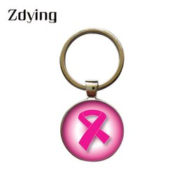 $enCountryForm.capitalKeyWord Australia - ZDYING Ribbon Breast-Cancer Awareness Keychain Handmade Round Glass Photo Cabochon Keyrings Key Ring Pendant Jewelry SD007
