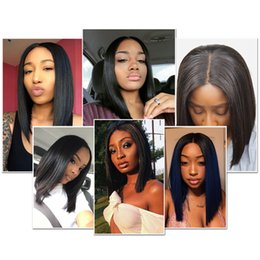 Human Hair virgin bob online shopping - Short Bob Wigs Brazilian Virgin Hair Straight Lace Front Human Hair Wigs For Black Women Swiss Lace Frontal Wig HC Hair