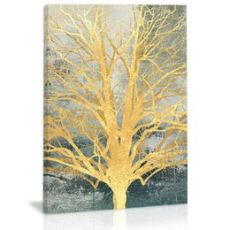 golden tree painting Australia - Golden Abstract Tree Wall Art Decor Canvas Painting Kitchen Prints Pictures for Home Living Dining Room