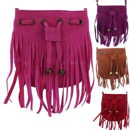 07705fadcf0eeb 5pcs lot 2017 New Bohemia Beach Shoulder Bags Child Girl Suede Backpack  Handbag Kids Satchel Bag tassel 5Colors festival fanny pack