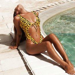 Beachwear Leopardo Bodysuit Mulheres Verão Profundo Decote Em V Lace Up Oco Out Sexy Bodysuits Push Up Monokini Brasileiro 2019 venda por atacado