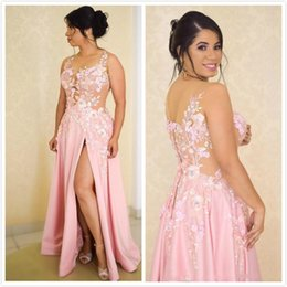 $enCountryForm.capitalKeyWord Australia - Light Pink V Neck A Line Lace Applique Beaded Side Split Evening Dresses Beautiful Cocktail Pageant Gowns Custom Made