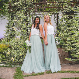 $enCountryForm.capitalKeyWord Australia - Pretty Mint Green Long Tulle Skirt High Waist A Line Bridesmaid Skirt For Wedding Party Spring Summer Style Saias Jupe Faldas J190626
