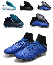 Hypervenom Phantom High Tops Australia - Top Quality Blue Soccer Shoes Hypervenom Phantom III DF FG size39-45 Men High-ankle football boots white blue black