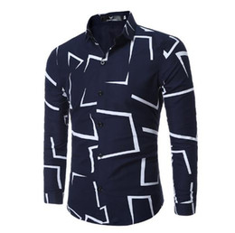 White Shirts Styles Designs For Men Australia - Irregular geometrical design Printed men's Long sleeve casual shirts fashion slim style shirts for man clothing