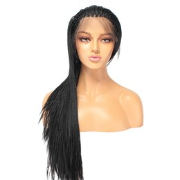 Chinese  Top Quality 26inch Synthetic Braided Box Braids Wig Lace Front Wigs For Women Black Color 1b# Heat Resistant Fiber Baby Hair Braid Wig manufacturers