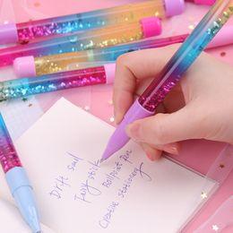 $enCountryForm.capitalKeyWord Australia - Cute 0.7mm Stick Ballpoint Pen Drift Sand Glitter Pens Glass Rainbow Color Creative Ball Pen Novelty Gift Stationery