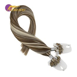 $enCountryForm.capitalKeyWord Australia - Moresoo Micro Bead Loop Hair Extensions Piano Color Brown #9A Highlight with White Blonde #60 100 Real Remy Human Hair 50G Pack