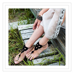 nude beach jewelry 2020 - Becch Wedding Jewelry Crochet Wedding Barefoot Sandals Beach Pool Nude Shoes Yoga Chains Foot Anklets Bridal Lace Shoes