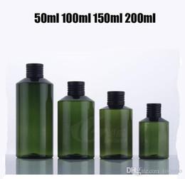 $enCountryForm.capitalKeyWord NZ - 350PCS High Grade 150ml PET Bottle,Plastic Dark Green Bottle with Black Aluminum Caps Lids,Cosmetic Packaging