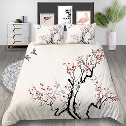 duvet cover chinese flowers NZ - King Size Bedding Set Chinese Style Ink Plum Flower 3D Printed Duvet Cover Queen Home Deco Double Single Bed Cover with Pillowcase