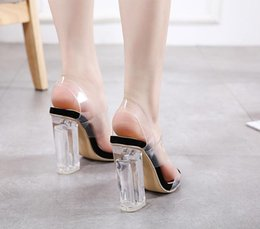 $enCountryForm.capitalKeyWord Australia - Hot Sale-Adorable transparent PVC thick high heel crystal shoes sandals women summer shoes party prom size 35 to 40