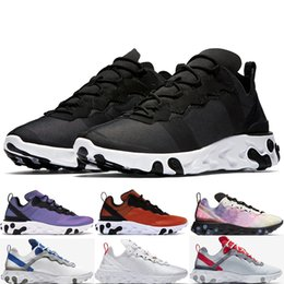 China 2019 React Element 55 PRM Sunrise Sunset Men Running Shoes For Women Designer Sneakers Sports Mens Trainer Shoes Black White CD7340-100 cheap white running shoes for men suppliers