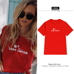 Formal Tops For Women NZ - Hillbilly New 2017 Red T-shirts For Women Print Rose Flowers Lover Lover Girl Loose Street Wear T shirts Women Tops & Tees C3-39