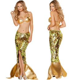 MerMaid woMan costuMes online shopping - Womens Mermaid Halloween Costume Theme Costume Sexy Party Dress Sequins Night Club Suit