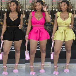 Polyester Woven Strap NZ - women sets summer ruffles side splicing spaghetti strap v-neck crop top & shorts suit two piece set beach tracksuit outfit